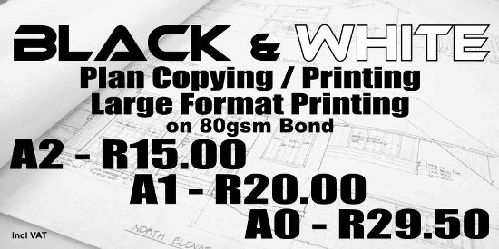 Edenvale Black and White Plan Printing, Edenvale Large Format Printing